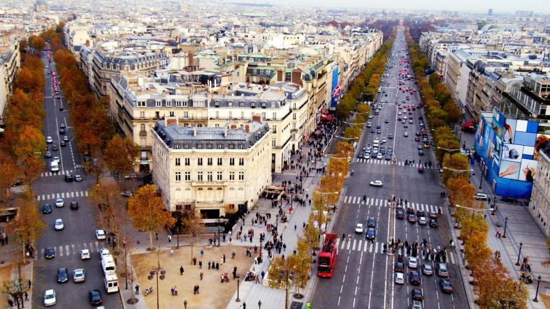 Aerial view of Champs ElysÈes. Paris. France
